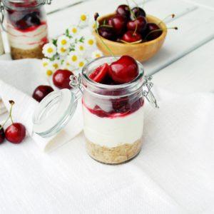 No bake Kuchen mit Kirschen