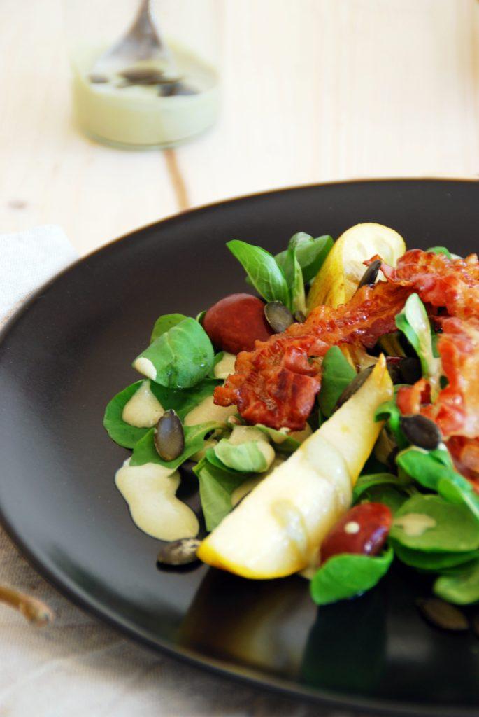 Vogerl(Feld)Salat mit karamellisierten Birnen
